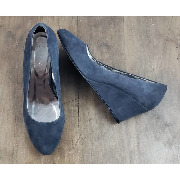 👠SOLD👠 Boden Gray Leather Suede Wedge Shoes~Sz 9